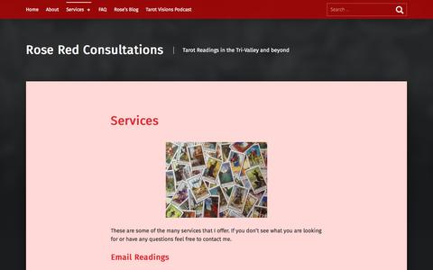 Screenshot of Services Page roseredtarot.com - Services – Rose Red Consultations - captured Aug. 16, 2019