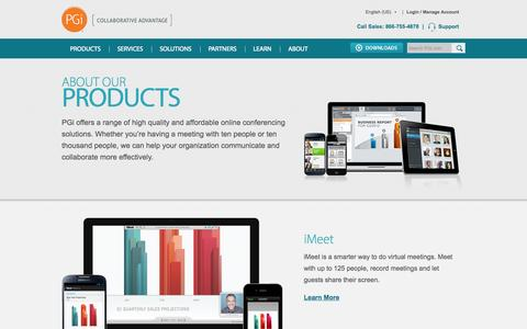 Screenshot of Products Page pgi.com - Online Conferencing Solutions Built For Business | PGi - captured Sept. 25, 2014