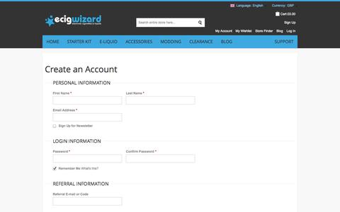 Screenshot of Signup Page ecigwizard.com - Create New Customer Account - captured Sept. 23, 2014