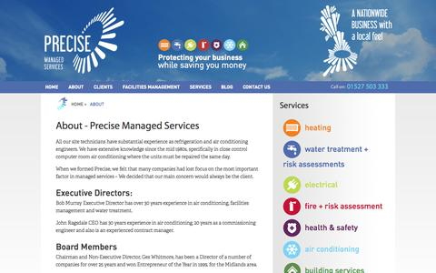 Screenshot of About Page preciseuk.co.uk - About - Precise Managed Services - captured Oct. 6, 2014
