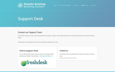 Screenshot of Support Page parents-booking.com - Support - Parents' Evening Booking System - captured Oct. 20, 2016