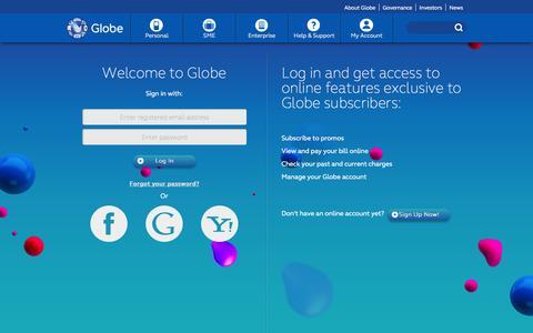 Screenshot of Login Page globe.com.ph - GLOBE - captured Sept. 18, 2014