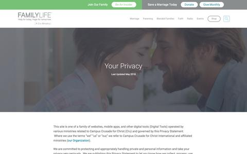 Screenshot of Privacy Page familylife.com - Privacy Policy   FamilyLife® - captured Oct. 24, 2018