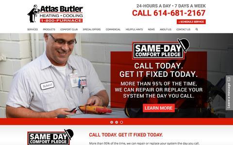 Screenshot of Home Page atlasbutler.com - Home - Atlas Butler Heating & Cooling - captured April 22, 2017