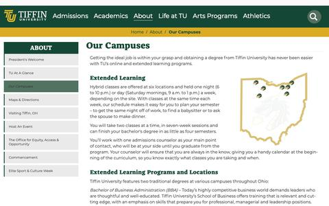 Screenshot of Locations Page tiffin.edu - Our Campuses | Tiffin University - captured Sept. 28, 2018