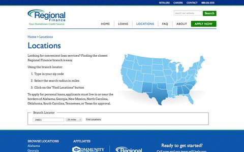 Screenshot of Locations Page getregionalcash.com - Personal Loans | Loan Services - captured Oct. 4, 2014
