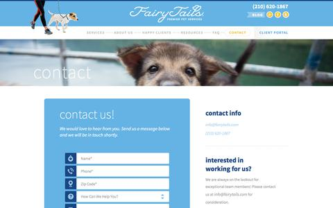 Screenshot of Contact Page fairytails.com - Contact – FairyTails Premier Pet Services - captured Nov. 24, 2016