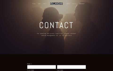Screenshot of Contact Page ellandarproductions.com - Contact Ń EllandaráUK - captured Dec. 8, 2015
