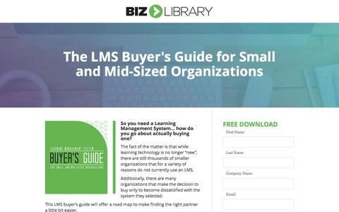 Screenshot of Landing Page bizlibrary.com - The LMS Buyer's Guide for Small and Mid-Sized Organizations - captured Feb. 7, 2017