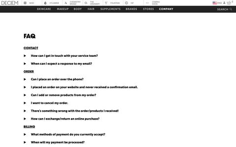 Screenshot of FAQ Page deciem.com - DECIEM | Faq - captured May 16, 2019