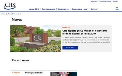 Screenshot of Press Page chsinc.com - News - captured Aug. 7, 2019