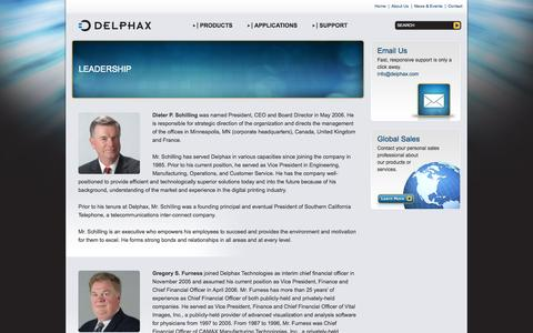 Screenshot of Team Page delphax.com - Delphax: Leadership - captured Oct. 5, 2014