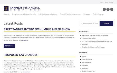 Screenshot of Blog tannerfinancial.ca - Blog - Tanner Financial Services : Tanner Financial Services - captured Oct. 19, 2017