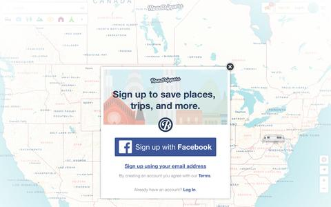Screenshot of Signup Page roadtrippers.com - Register | Roadtrippers - Maps Built for Travelers - captured April 11, 2016
