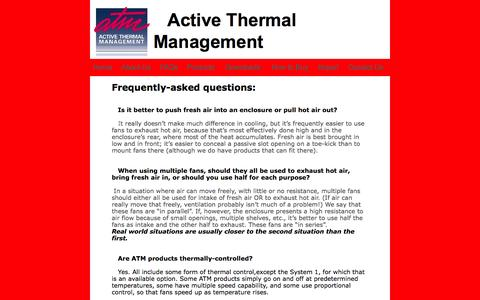 Screenshot of FAQ Page activethermal.com - home theater cooling - captured Oct. 4, 2014