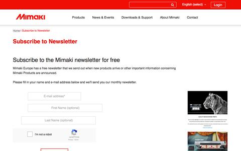 Screenshot of Signup Page mimakieurope.com - Subscribe to our newsletter for free - captured Jan. 28, 2018