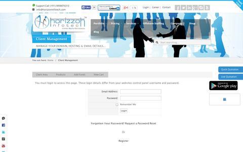 Screenshot of Login Page horizzoninfotech.com - Client Management | Horizzon Infotech - captured Nov. 2, 2014