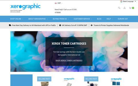 Screenshot of Home Page xerographic.co.uk - Xerographic International Ltd   xerox toner, xerox parts, xerox drums, xerox consumables, xerox printers,  Xerox photocopiers,  Xerox printer, Toner, Ink, cartridge, phaser xerox   Worldwide Suppliers of Genuine Xerox Products - captured Dec. 21, 2018