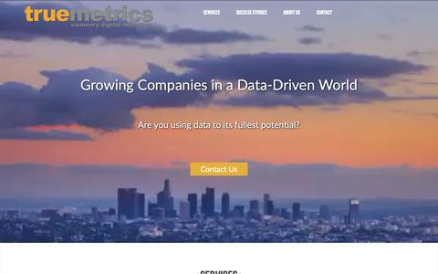 Screenshot of Home Page truemetrics.net - Truemetrics | Embrace the Power of Data - captured Oct. 20, 2018