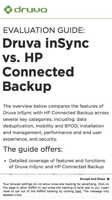 Druva inSync vs. HP Connected