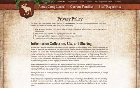 Screenshot of Privacy Page camplaurel.com - Privacy Policy - Camp Laurel - captured June 1, 2018