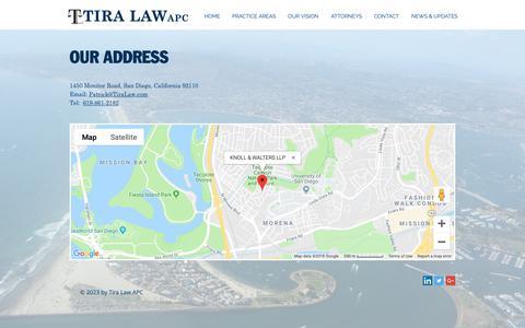 Screenshot of Maps & Directions Page tiralaw.com - Tira Law APC | MAP - captured Nov. 16, 2018