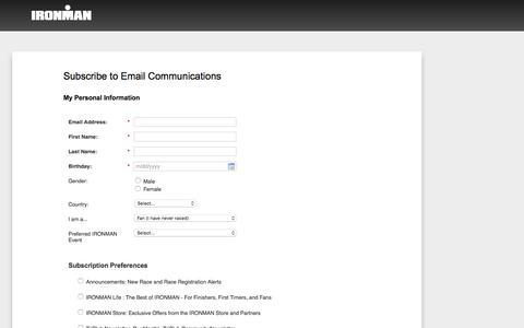 Screenshot of Landing Page ironman.com captured Dec. 31, 2016