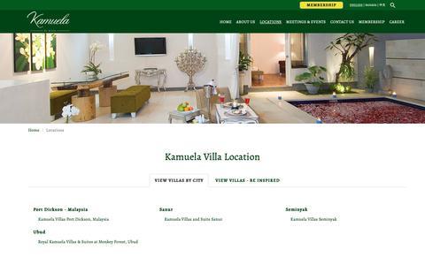 Screenshot of Locations Page kamuelavillas.com - Find The Nearest Kamuela Villa in Bali Indonesia - captured Oct. 15, 2018