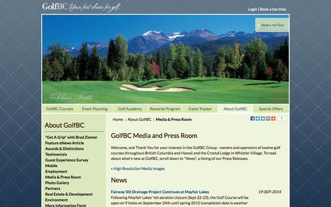 Screenshot of Press Page golfbc.com - GolfBC Media & Press Room - Golf Course Owners & Operators in British Columbia and Hawaii - captured Sept. 25, 2014