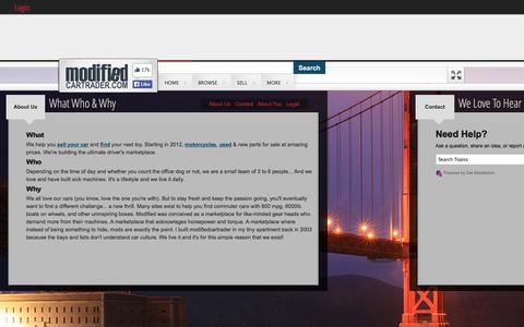 Screenshot of About Page modifiedcartrader.com - About Us   Contact - captured Nov. 3, 2014