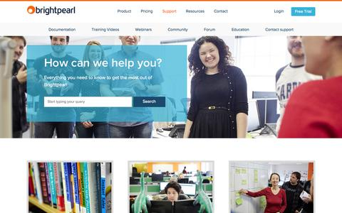 Screenshot of Support Page brightpearl.com - Support | Brightpearl - captured Nov. 3, 2015