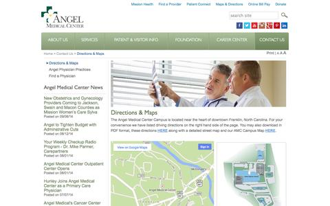 Screenshot of Maps & Directions Page angelmed.org - Directions & Maps | Angel Medical Center - captured Oct. 4, 2014