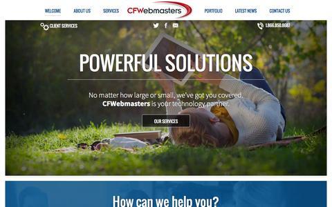 Screenshot of Home Page cfwebmasters.com - How can we help you? - CFWebmastersCFWebmasters - captured Oct. 1, 2014
