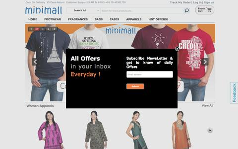Screenshot of Home Page theminimall.com - TheMiniMall.com| Online Shopping India Buy/Sell/Shop Mobiles Cases, Branded Fragrances,         Fashion Footwears, Bags & Wallets| India Shopping - captured Sept. 11, 2015