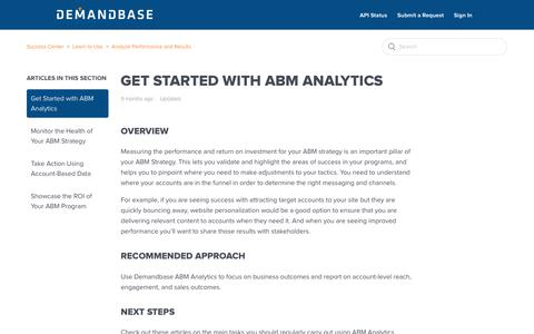 Screenshot of Support Page demandbase.com - Get Started with ABM Analytics – Success Center - captured Nov. 6, 2019