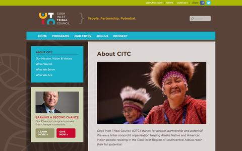 Screenshot of About Page citci.org - About CITC | Cook Inlet Tribal Council - captured Oct. 3, 2014