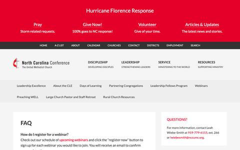 Screenshot of FAQ Page nccumc.org - FAQ - Center for Leadership Excellence - NC Conference - captured Oct. 19, 2018