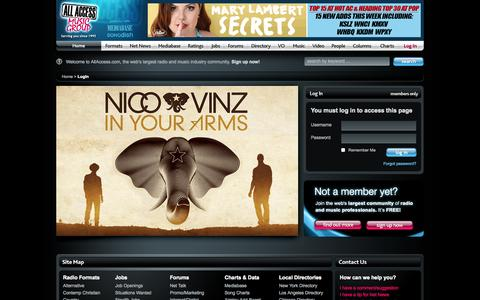 Screenshot of Login Page allaccess.com - Login to All Access | Breaking Radio News and Free New Music | AllAccess.com - captured Sept. 18, 2014