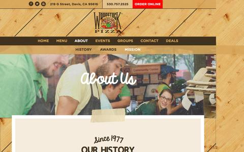 Screenshot of About Page woodstocksdavis.com - About Woodstock's Pizza | Best Pizza in Davis | 95616 - captured March 17, 2016