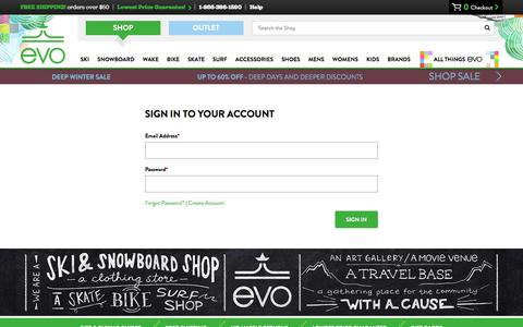 Screenshot of Login Page evo.com - Ski.  Snowboard.  Wake.  Lifestyle. | evo - captured Jan. 13, 2016