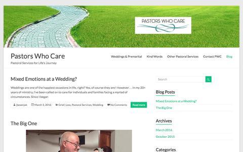 Screenshot of Blog pastorswhocare.com - Blog – Pastors Who Care - captured July 11, 2016