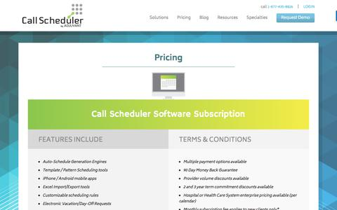 Screenshot of Pricing Page call-scheduler.com - Pricing | Call Scheduler - captured April 15, 2018