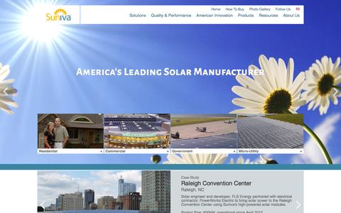 Screenshot of Home Page suniva.com - Suniva: High-power, Buy America compliant solar modules and cells from an American company. - captured Oct. 7, 2015