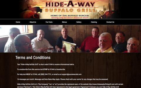 Screenshot of Terms Page hideawaybuffalogrill.com - Legal - Hide-A-Way Buffalo Grill - captured Dec. 10, 2015