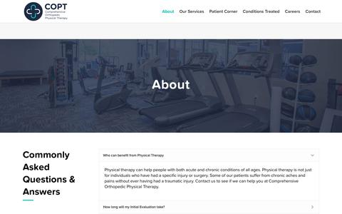 Screenshot of FAQ Page coptnj.com - FAQ - Comprehensive Orthopedic Physical Therapy - captured Sept. 29, 2018