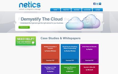 Screenshot of Case Studies Page netics.com.au - Netics - Case Studies & Whitepapers - captured Oct. 29, 2014