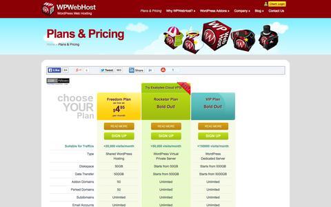 Screenshot of Signup Page wpwebhost.com - Plans & Pricing|WPWebHost - captured Oct. 26, 2014
