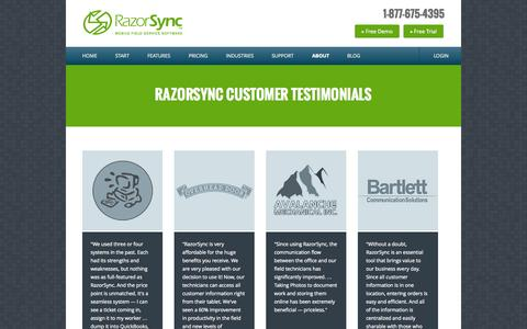 Screenshot of Testimonials Page razorsync.com - Customer Testimonials | RazorSync Field Service Software & Support - captured Oct. 29, 2014