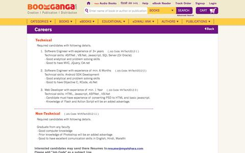 Screenshot of Jobs Page bookganga.com - BookGanga - Creation | Publication | Distribution - captured Dec. 25, 2016