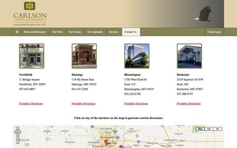 Screenshot of Locations Page Maps & Directions Page carlsoncap.com - Locations - Carlson Capital Management - captured Oct. 22, 2014